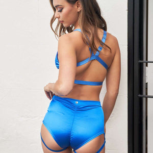 Lure You High Waisted Garter Shorts - Satin Electric Blue - Luna Lae