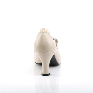 JENNA-06 | 3 INCH  CREAM FAUX LEATHER-PATENT PLATFORM HEEL