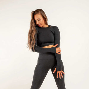 LONG SLEEVE CROP TOP IN CHARCOAL TONE - ESSENTIAL COLLECTION - AMBR DESIGN