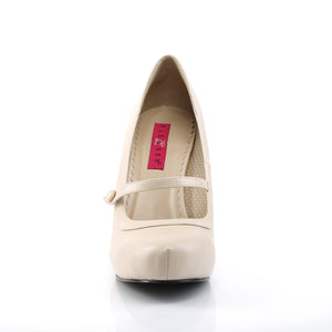 PINUP-01 | 4.5 INCH  CREAM FAUX LEATHER PLATFORM HEEL