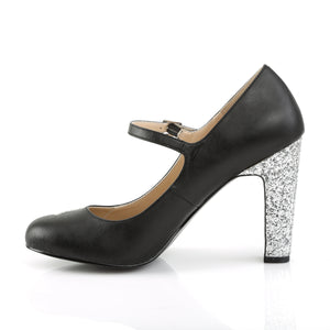 QUEEN-02 | 4 INCH  BLACK FAUX LEATHER-SILVER GLITTER PLATFORM HEEL