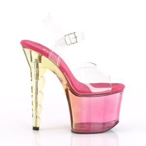 SCALLOP-708MCT | 7 INCH  CLEAR/PINK TINTED OMBRE PLATFORM HEEL