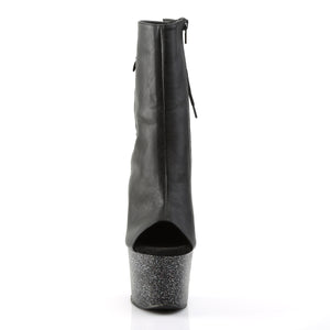 SKY-1018MG | 7 INCH  BLACK FAUX LEATHER/BLACK MATTE PLATFORM MID CALF BOOT