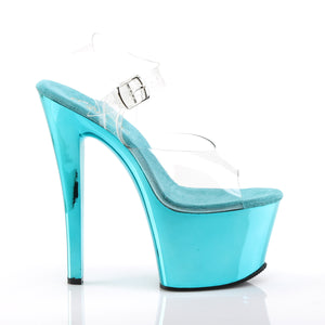 SKY-308 | 7 INCH  CLEAR/TURQUOISE CHROME PLATFORM HEEL