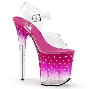 STARDUST-808T | 8 INCH  CLEAR/PINK-CLEAR PLATFORM