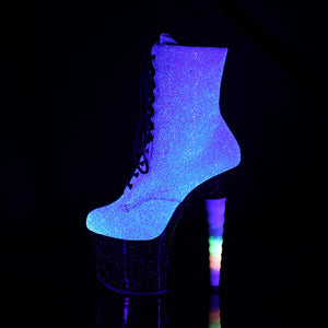 UNICORN-1020G | 7 INCH  PURPLE-BLUE GLITTER/BLACK PLATFORM MID CALF BOOT