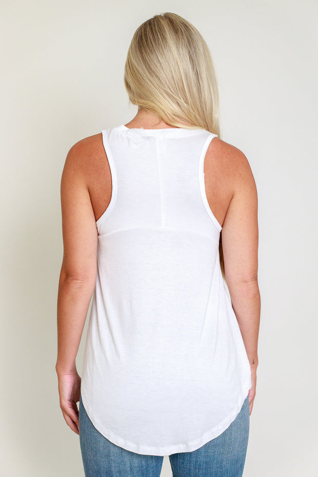 Back view of white loose fitting tank top