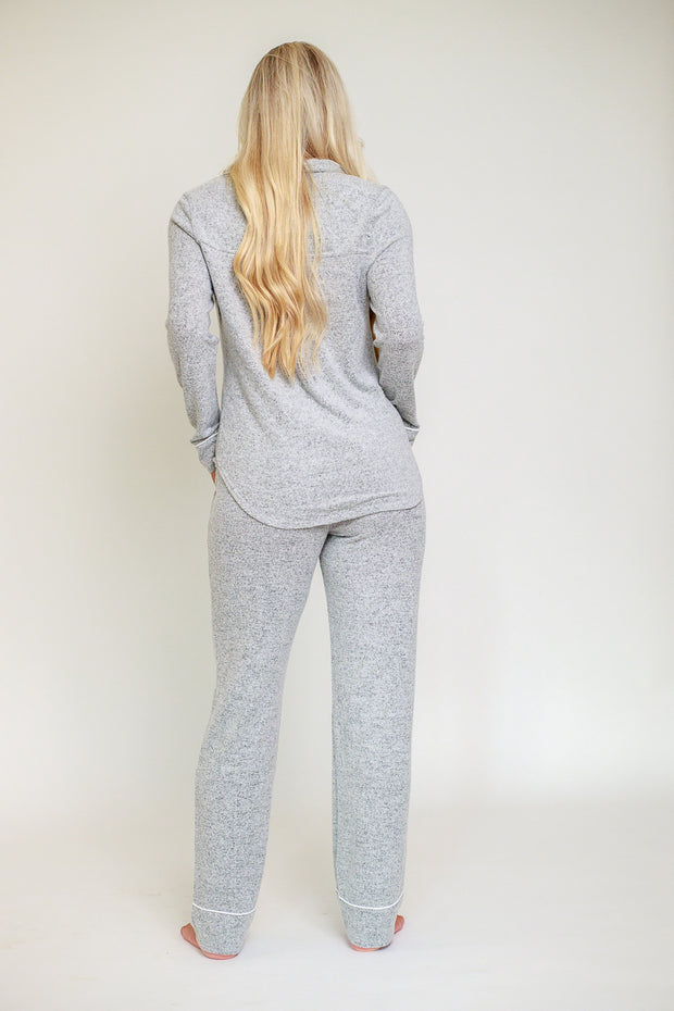 Back view of comfortable grey pajama set button down and pants