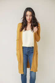 Open front duster cardigan in a mustard yellow hue