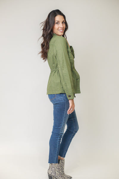Moss green utility jacket with stylish buttons