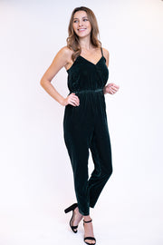 Deep forest velvet and figure slimming jumpsuit with adjustable spaghetti straps