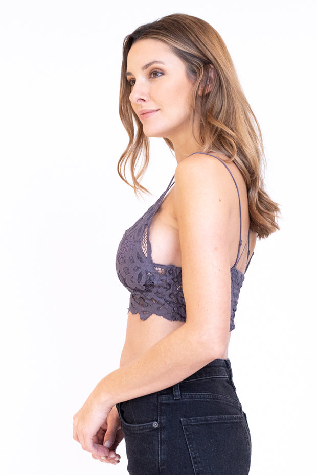 Side view of grey lace bralette
