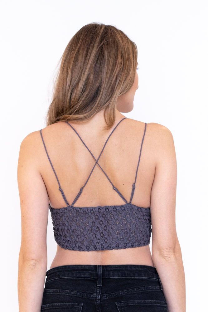 Back view of strappy lace bralette in grey