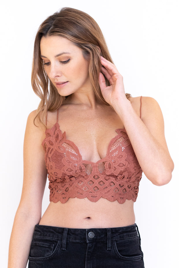 Double strap lace bralette with a strappy back in the color copper