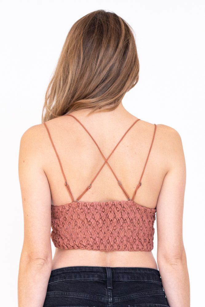 Back view of the strappy lace bralette in copper