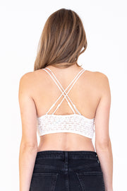 Back view of double strap white daisy bralette with smocked back feature