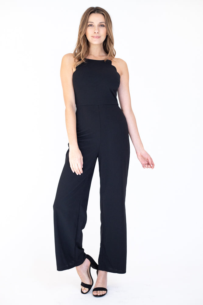 Flattering scalloped halter top neckline jumpsuit in black