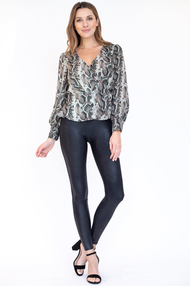V neck wrap peplum top in snakeskin print