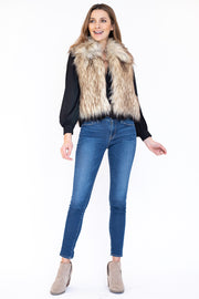 Shawl collar and cropped fit faux fur vest