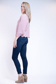 Scalloped bottom pink rose sweater with gold specks