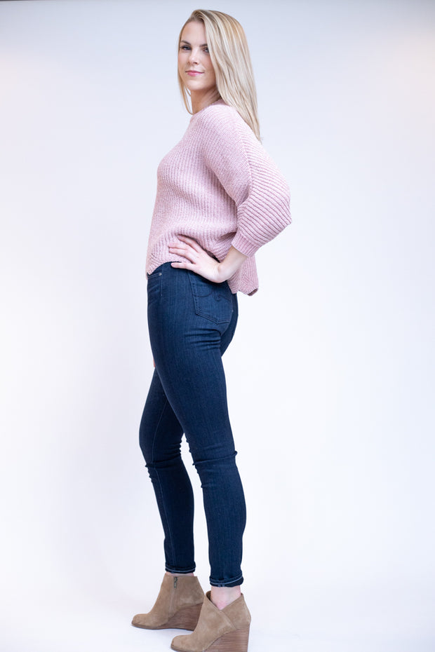 Pink rose colored sweater with gold specks, slightly cropped and a scalloped bottom