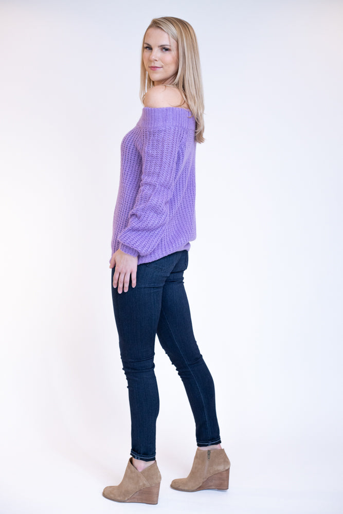 Bright purple off the shoulder chunky knit sweater