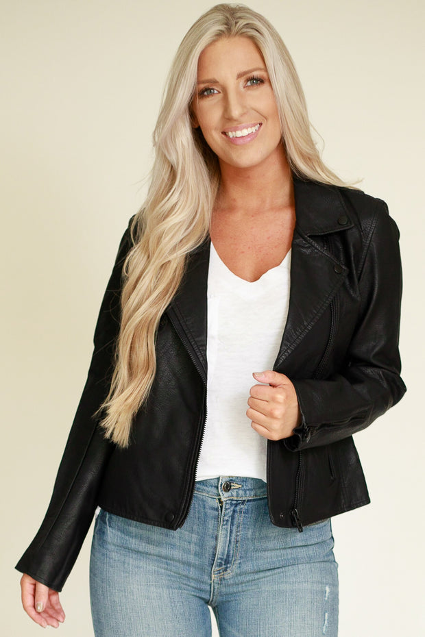 Classic black vegan leather jacket