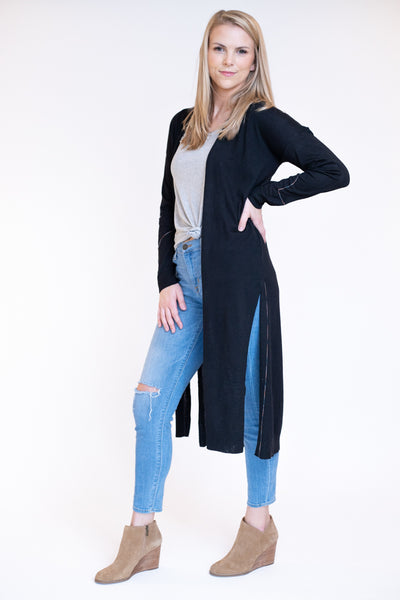 Basic black duster cardigan with high slits