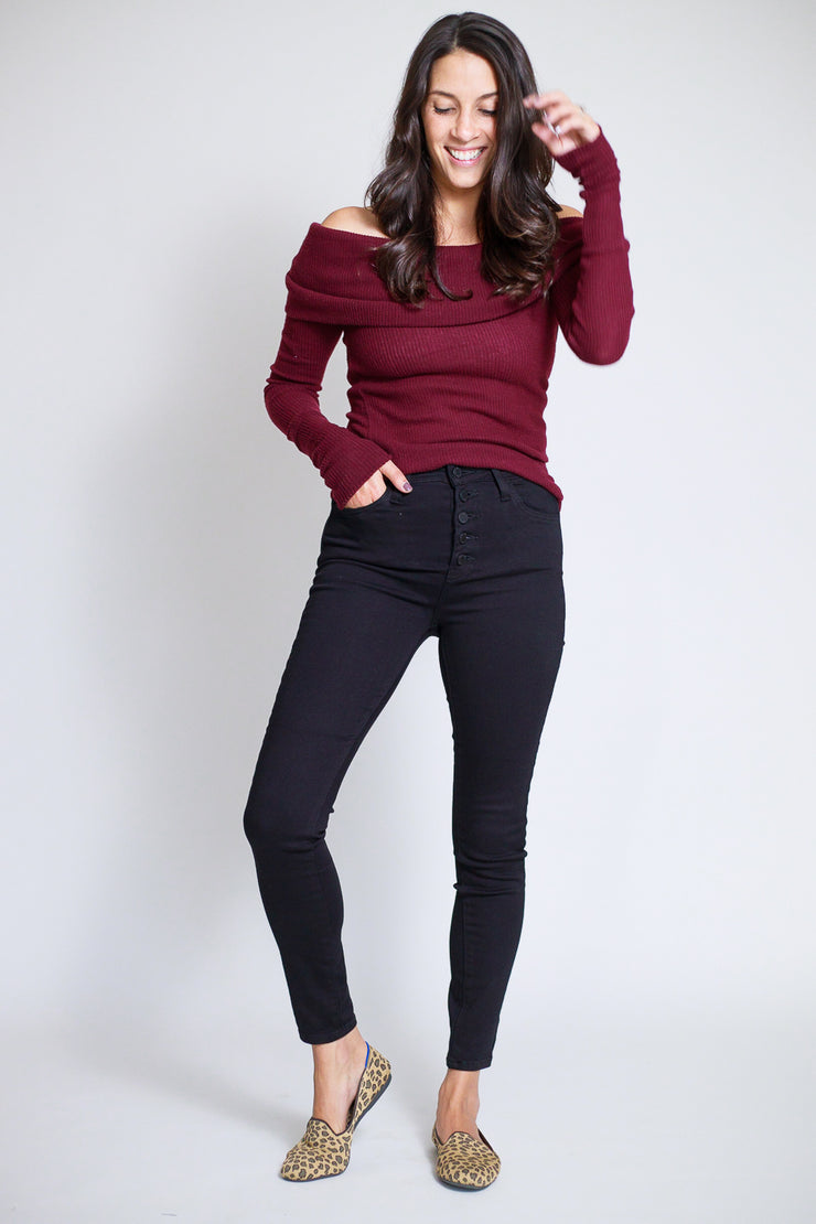 Liv High Rise Black Button Down Skinny