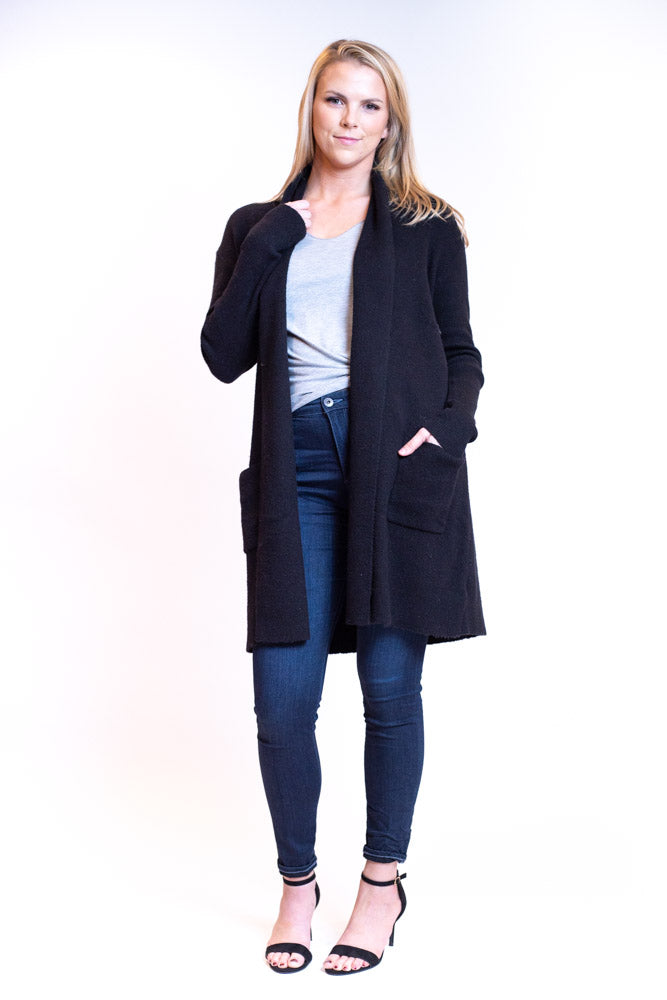 Long length cardigan in thick fabric with pockets and mini shawl collar