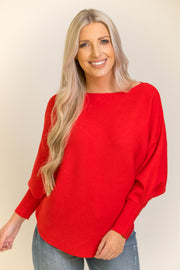 Bright red dolman sleeve sweater