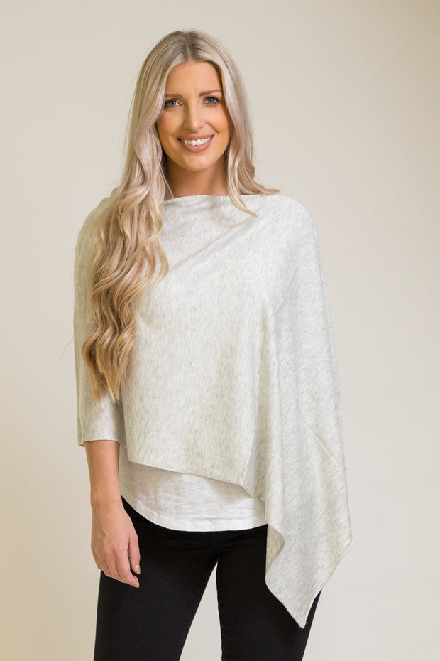 Light grey poncho top that can be worn 8 different ways