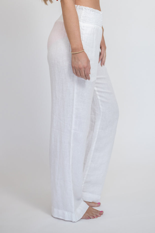 Sheer white linen flowy pants