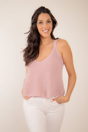 A-line sweater tank in a quartz pink tan color with a v neck