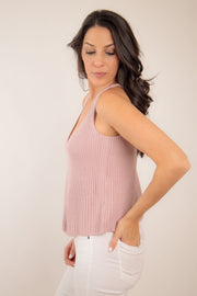 V neck A-line style sweater tank in a quartz pink tan color