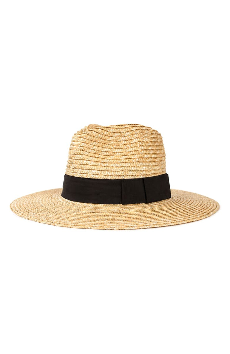 Straw hat featuring a wide brim and a black grosgrain strap wrapped around