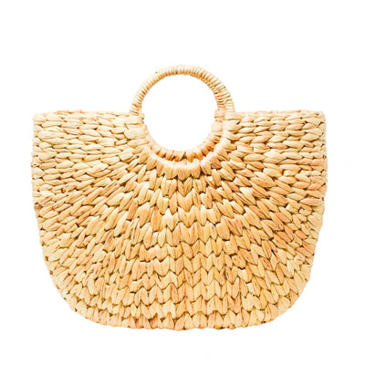 Medium sized straw tote bag with circular handles