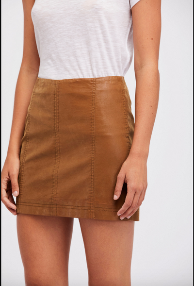 Chestnut brown vegan suede mini skirt with seam detailing