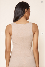 Soft ribbed knit tanktop in a latte color