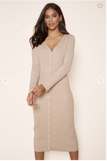 Long sleeve ribbed knit midi length latte colored dress that can be worn as a duster cardigan