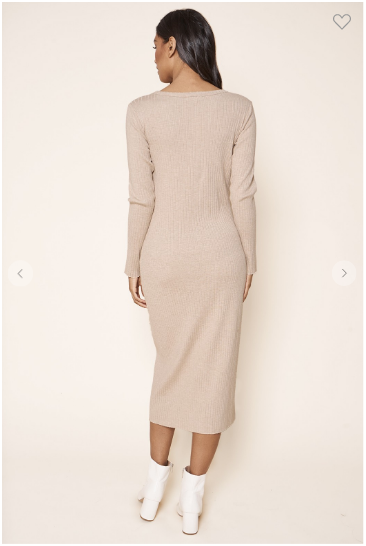 Back view of long sleeve ribbed straight fit midi length dress