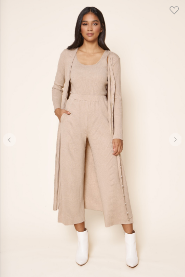 Ribbed knit high waisted wide leg pants in a latte color