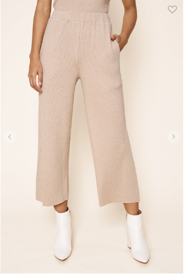 High waisted ribbed knit wide leg pants in a latte color
