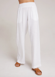Linen pants with flowy pant legs in sheer white