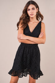 Black crochet lace plunging v neck, cinched waist, and skater style bottom