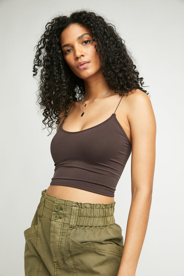 Seamless bralette cami top in a coffee color with ribbed detail bottom