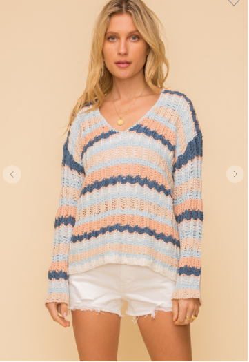 Colorful open stitch v neck sweater with different alternating colors of blue, peach, and white.