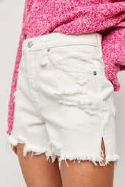 White high rise distressed denim jean shorts with slits on the side