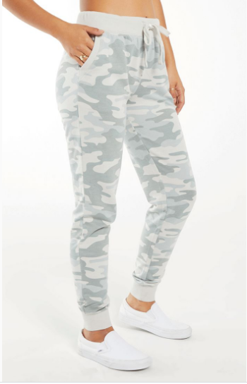 Soft white camo and light sage joggers with elastic waistband and cuffed ankles