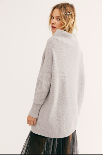 Oversized mock neck tunic sweater in a cool grey color